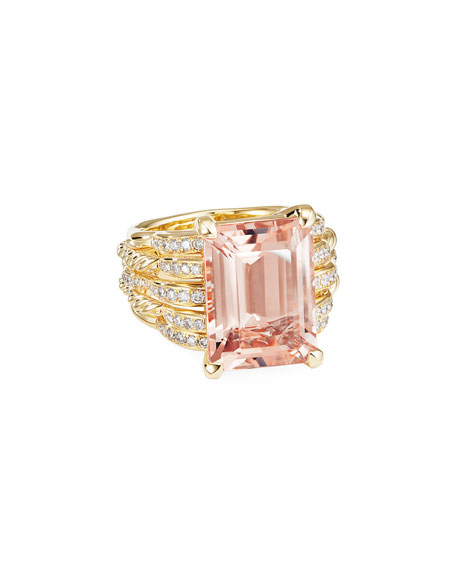 Image 1 of 4: David Yurman Tides 18k Gold Diamond & Morganite Wide Ring, Size 8