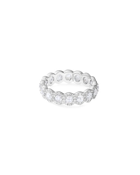 64 Facets 18k White Gold Rose-Cut Diamond Band Ring, Size 6