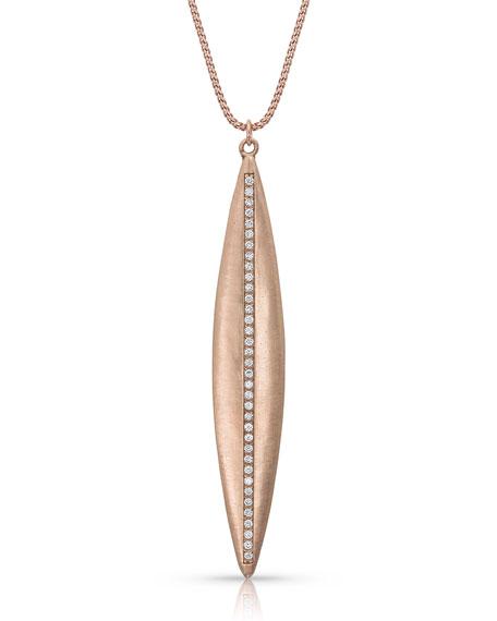 Dominique Cohen 18k Rose Gold Navette Diamond Pendant Necklace