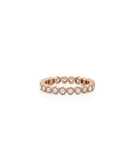 Dominique Cohen 18k Rose Gold Diamond Milgrain Stacking Ring (Large), Size 7