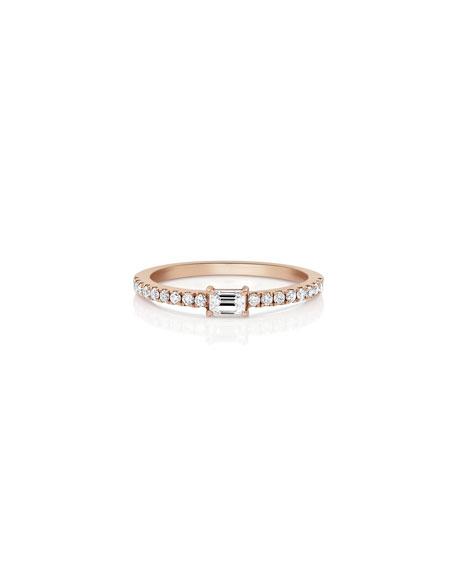 Dominique Cohen 18k Rose Gold Single Baguette Diamond Stacking Ring, Size 7