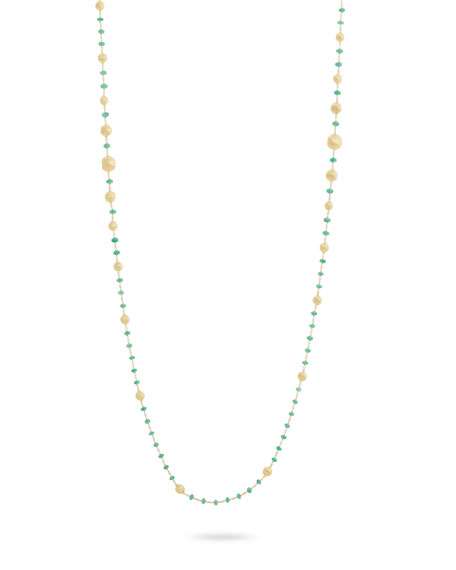 Marco Bicego 18k Gold Africa Emerald Long Necklace