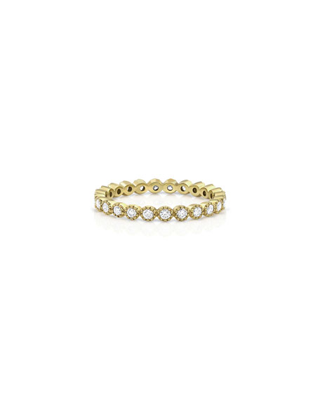 Dominique Cohen 18k Yellow Gold Diamond Milgrain Stacking Ring (Delicate), Size 7