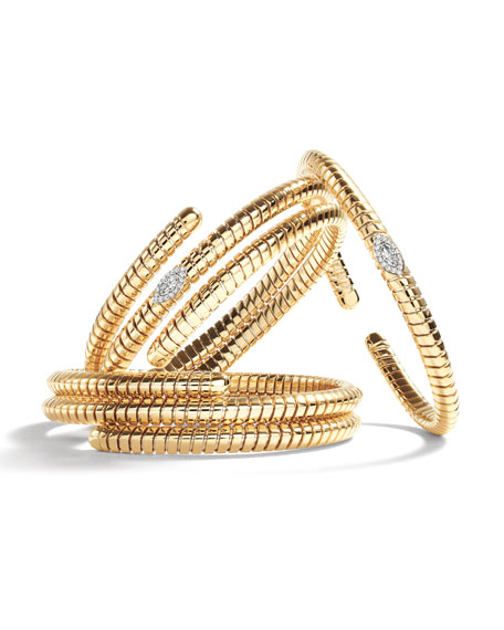 Marina B Trisola 18k Diamond Triple Navetta Bangle, Size L
