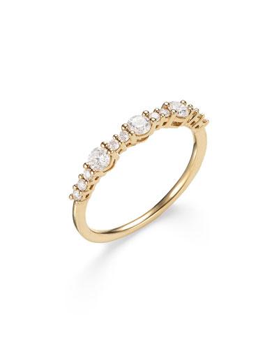 14k Three Large Diamond Stack Ring  Size 7