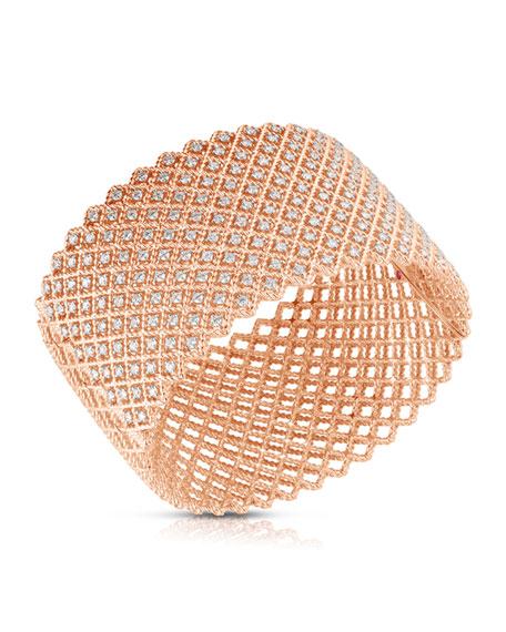 Roberto Coin 14k Rose Gold Diamond Wide Bangle