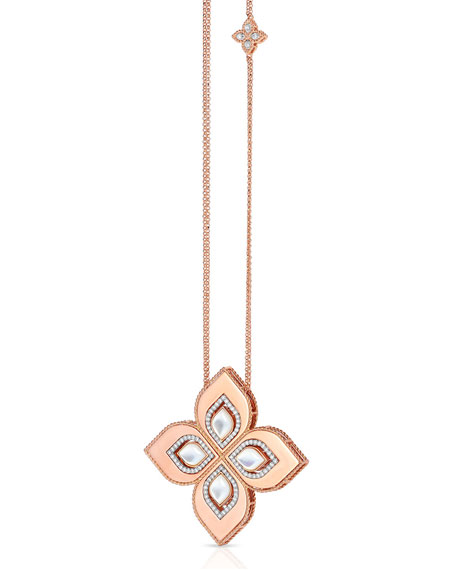 "Roberto Coin Venetian Princess 18k Rose Gold Mother-of-Pearl Cutout Necklace with 2"" Pendant"