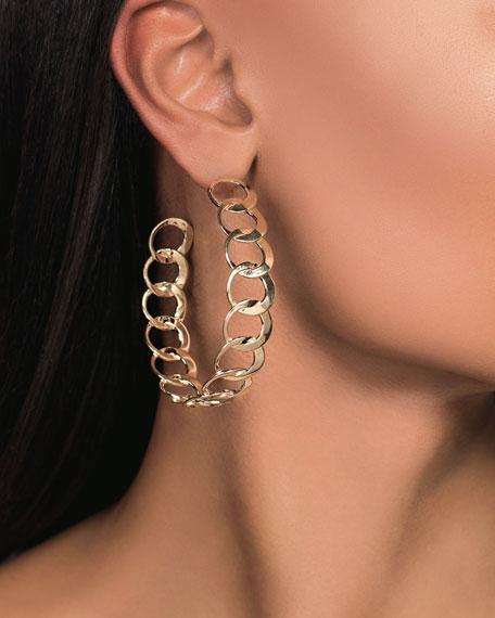 LANA 14k Gold Bond Link Hoop Earrings
