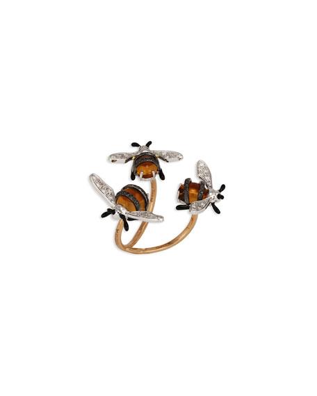 Staurino 18k Citrine & Diamond 3-Bee Ring, Size 6.75