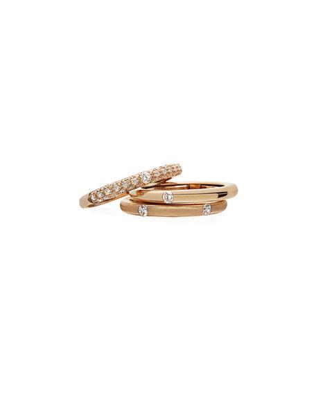 Adolfo Courrier 18k Rose Gold Diamond Ring, Size 6-8