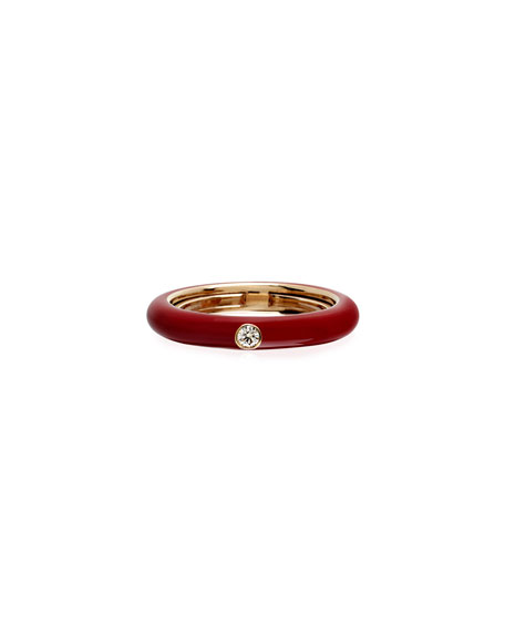 Adolfo Courrier Never Ending 18k Pink Gold Diamond & Red Ring, Size 6-8