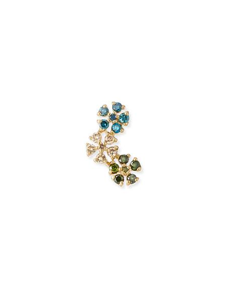 Stevie Wren 14k Gold Triple Daisy Diamond Stud Earring, Blue/Green