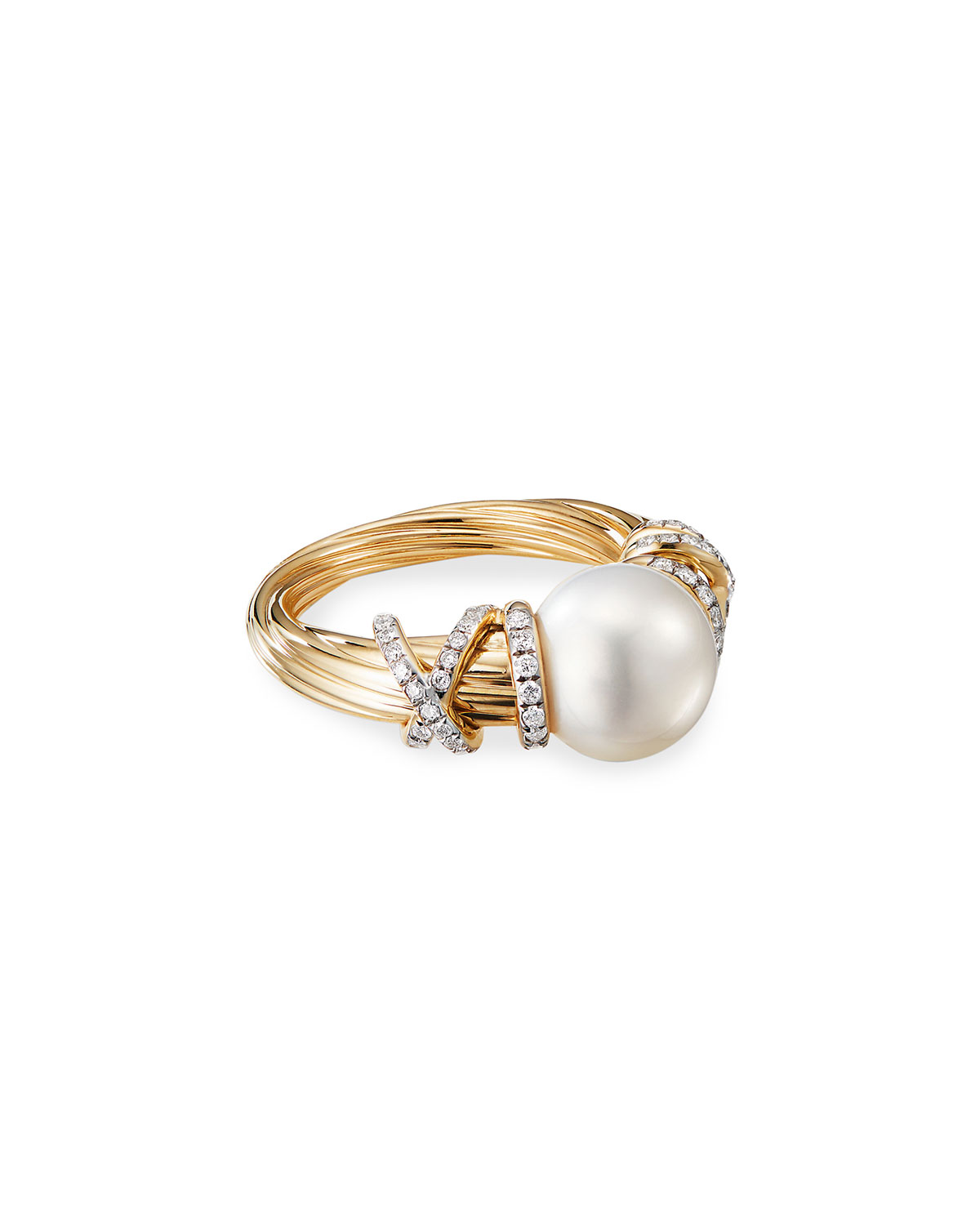 David Yurman Helena 18k Pearl & Diamond Ring, Size 6