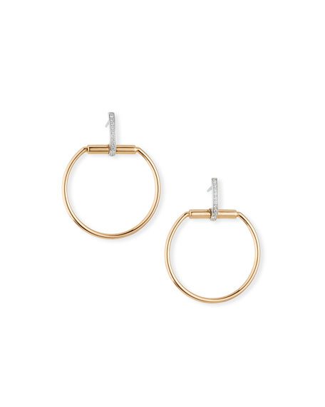 Roberto Coin Classica Parisienne 18k Rose Gold Drop Earrings w/ Diamonds