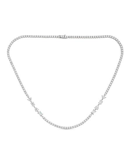 ZYDO Hope 18k White Gold Mixed-Cut 4-Diamond Short Necklace