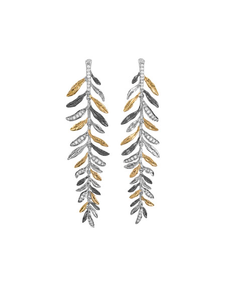 Image 1 of 2: Michael Aram Laurel Tricolor Chandelier Earrings w/ Diamonds