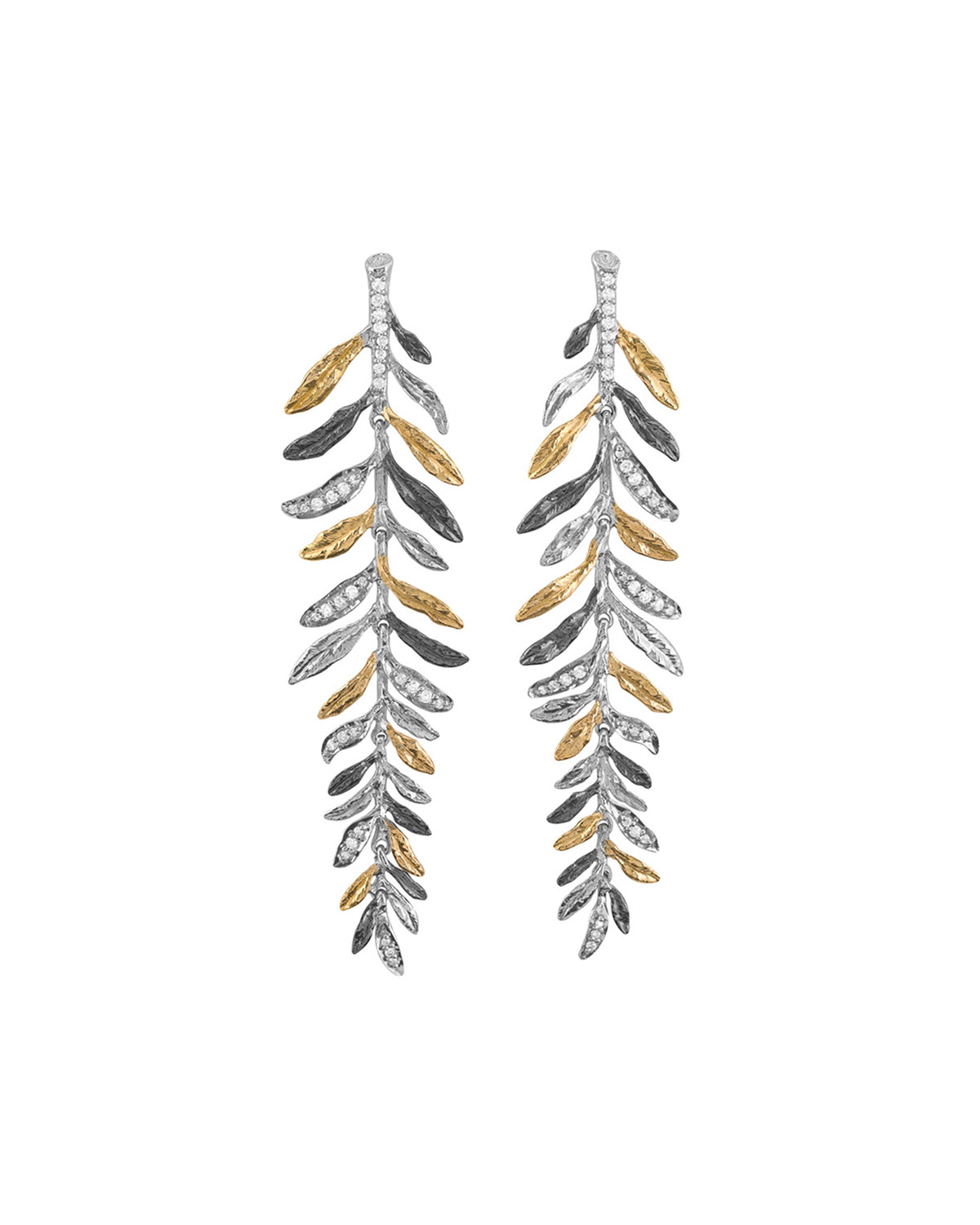 Michael Aram Laurel Tricolor Chandelier Earrings w/ Diamonds