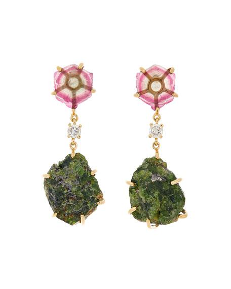 Jan Leslie 18k Bespoke 2-Tier Tribal Luxury Earrings w/ Watermelon Tourmaline, Diamond, & Tsavorite