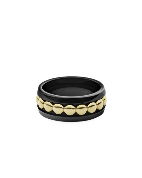 Image 2 of 4: Lagos 18k Gold & Black Caviar 8mm Ring, Size 7