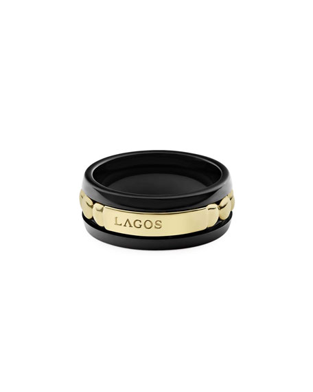 Image 3 of 4: Lagos 18k Gold & Black Caviar 8mm Ring, Size 7