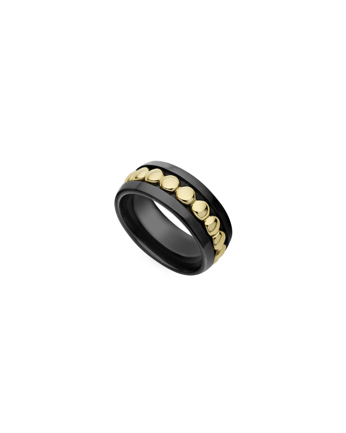 Lagos 18k Gold & Black Caviar 8mm Ring, Size 7