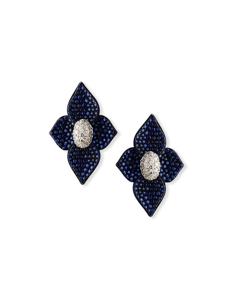 SUTRA 18K White Gold Double Lotus Blue Sapphire Stud Earrings