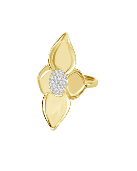SUTRA 18K Yellow Gold Double Lotus Diamond Ring, Size 7