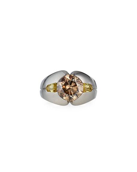 N Gogolick & Son 14k White Gold Brown Diamond Fancy Yellow Diamond Ring