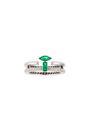Miseno 18k White Gold Double-Row Diamond and Emerald Ring, Size 6