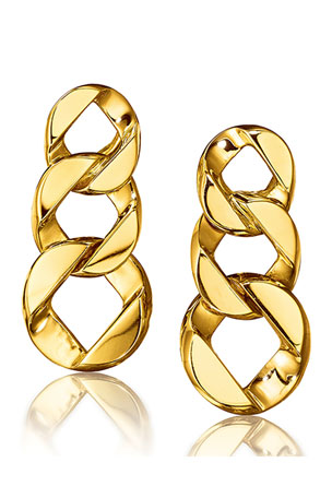 Verdura 18k Yellow Gold Piccolo Curb-Link Earclips