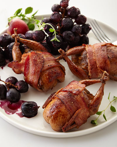Bacon-Wrapped Stuffed Quail  For 8 People