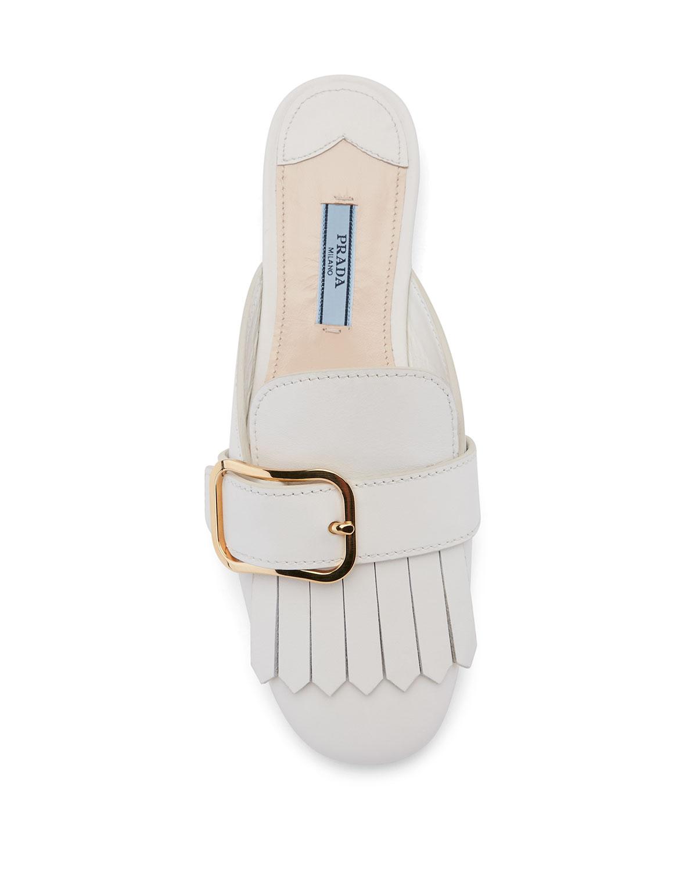 cheap brand new unisex Prada Leather Kiltie Mules discount best seller countdown package online E1ke4D7kOh