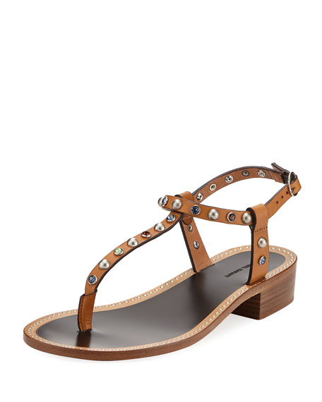 Isabel Marant Aelith Studded Thong Sandal, Natural