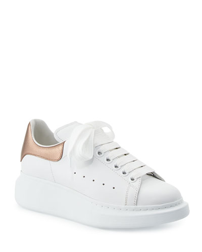 Leather Lace-Up Platform Sneakers, White/Rose Gold