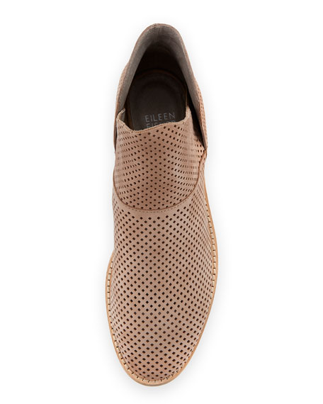 Leaf Perforated Leather Bootie, Neutral Pattern