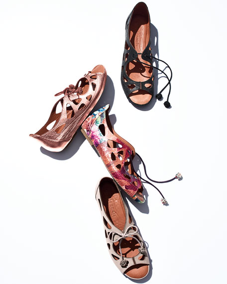 Brynn Snake-Embossed Lace-Up Sandal