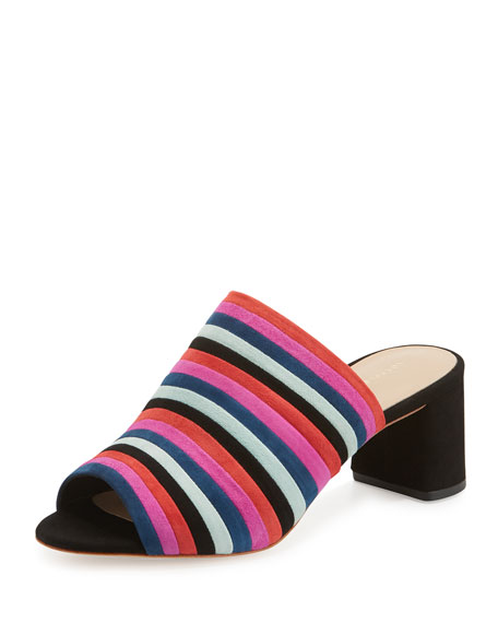 Loeffler Randall Kenna Striped Suede Mule Sandal, Black/Multi