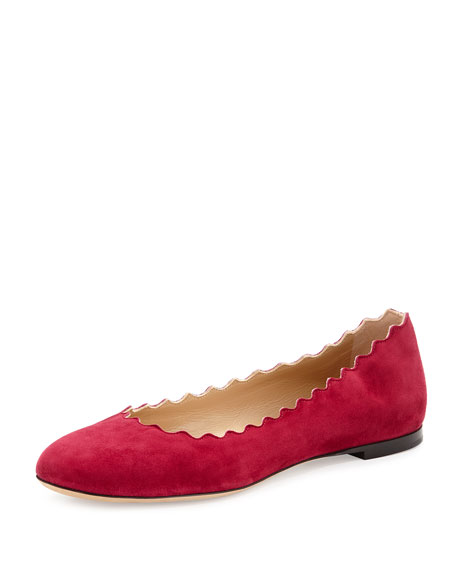 Chloe Lauren Scalloped Suede Ballerina Flat, Red Orchid
