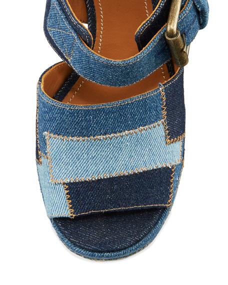 See By Chloe Tara Patchwork Denim Platform Sandal Navy