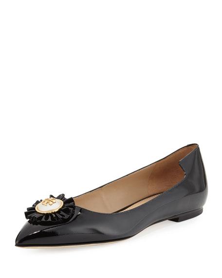 Tory Burch Melody Patent Leather Flat, Black
