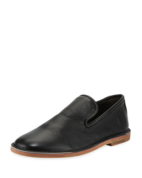 Vince Percell Tumbled Leather Loafer, Black