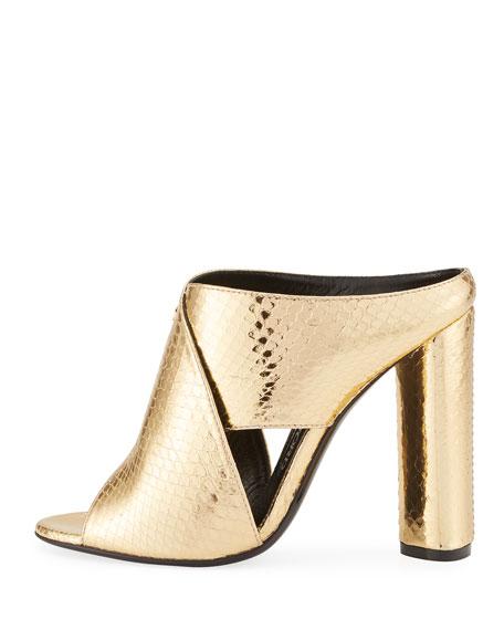 Snakeskin Crisscross 105mm Slide Sandal, Gold