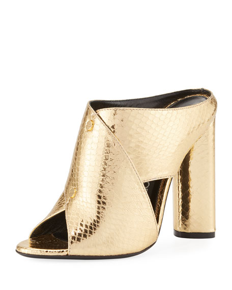 Snakeskin Crisscross 105mm Slide Sandal, Gold