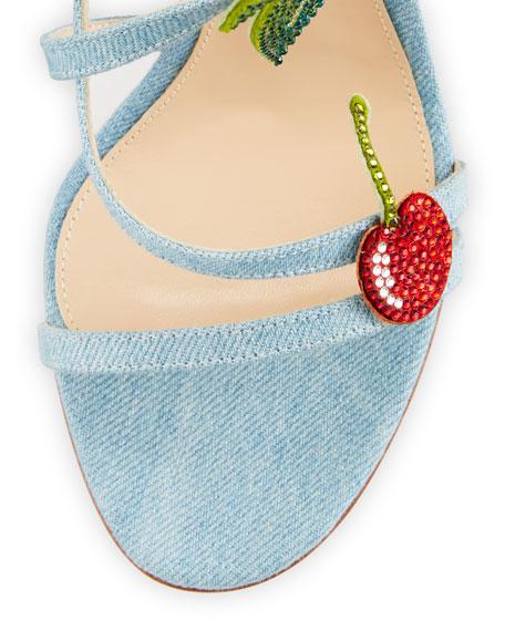 Cherry Denim Strappy 100mm Sandal, Blue