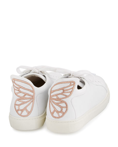 Sophia Webster Bibi Butterfly Leather Low-Top Sneaker, White