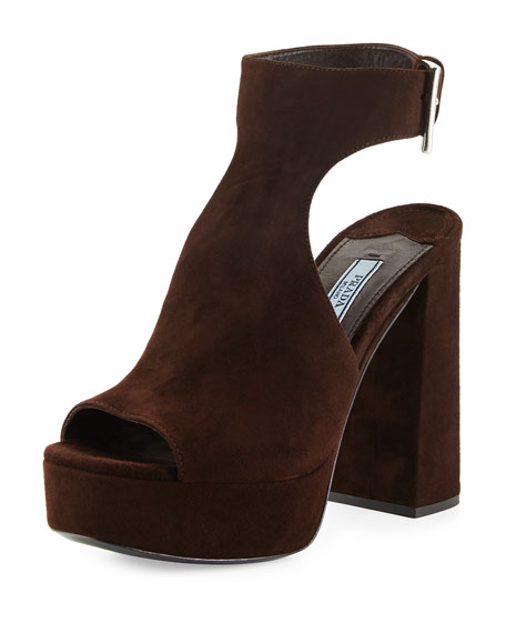 Prada Suede Ankle-Wrap Sandal, Brown (Moro)