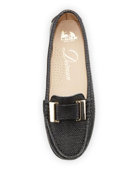 Renna Lizard-Embossed Ornament Loafer