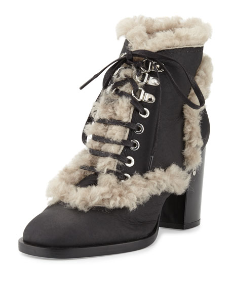 Laurence Dacade Manushka Shearling Fur Ankle Boot, Black/Gray