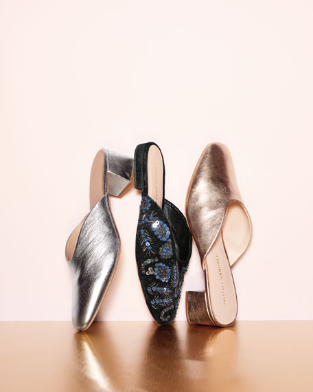 Lulu Leather Block-Heel Mule Slide