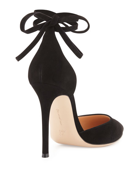 e27b2c51a Gianvito Rossi Suede Pointed-Toe Ankle-Wrap Pump, Black | Neiman Marcus